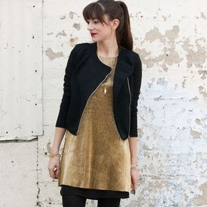 *bar III* NWT gold shift pleated mini dress small
